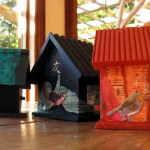 For the Birds, tower of painted birdhouses