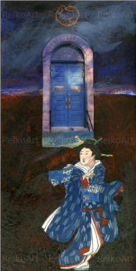 Mixed Media, collage, Running Geisha, The Blue Door, art, acrylic, TBT